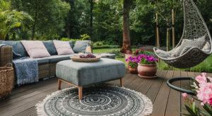 Backyard patio with furniture