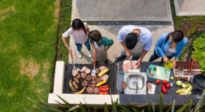 above view of family grilling
