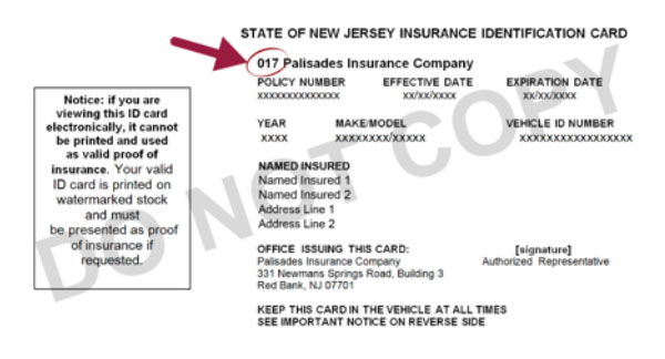 Example of Insurance ID Card